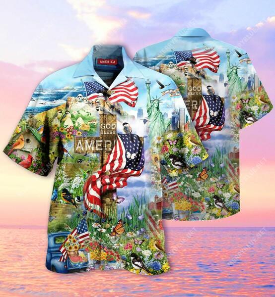 Amazing God bless american all over printed hawaiian shirt