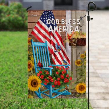 Amazing God bless american sunflower garden all over print flag