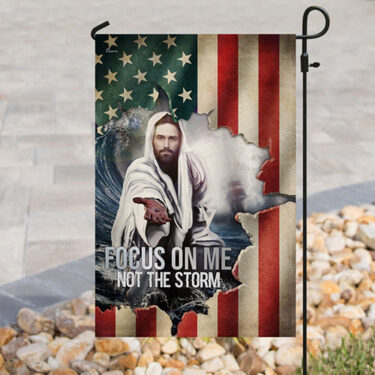 Amazing God focus on me not the storm american flag all over print flag