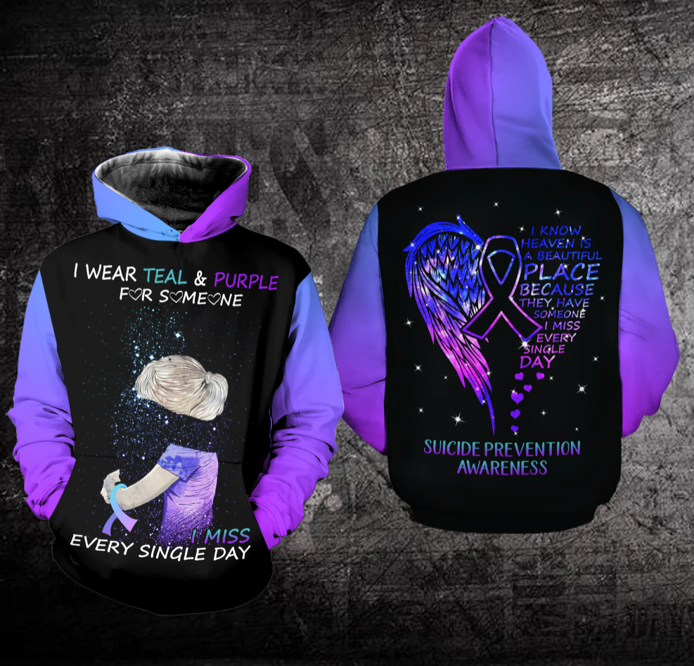 [New] I Wear Teal And Purple For Someone I Miss Every Single Day All Over Printed 3D Hoodie