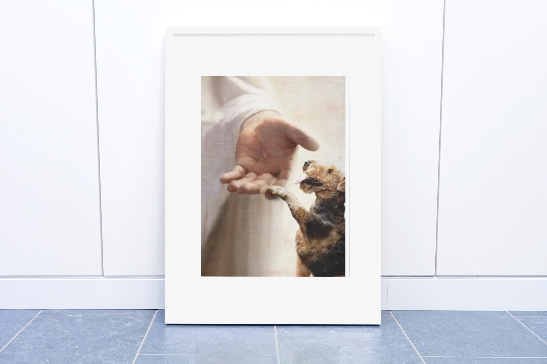 Jesus God Airedale Terrier take my hand canvas poster