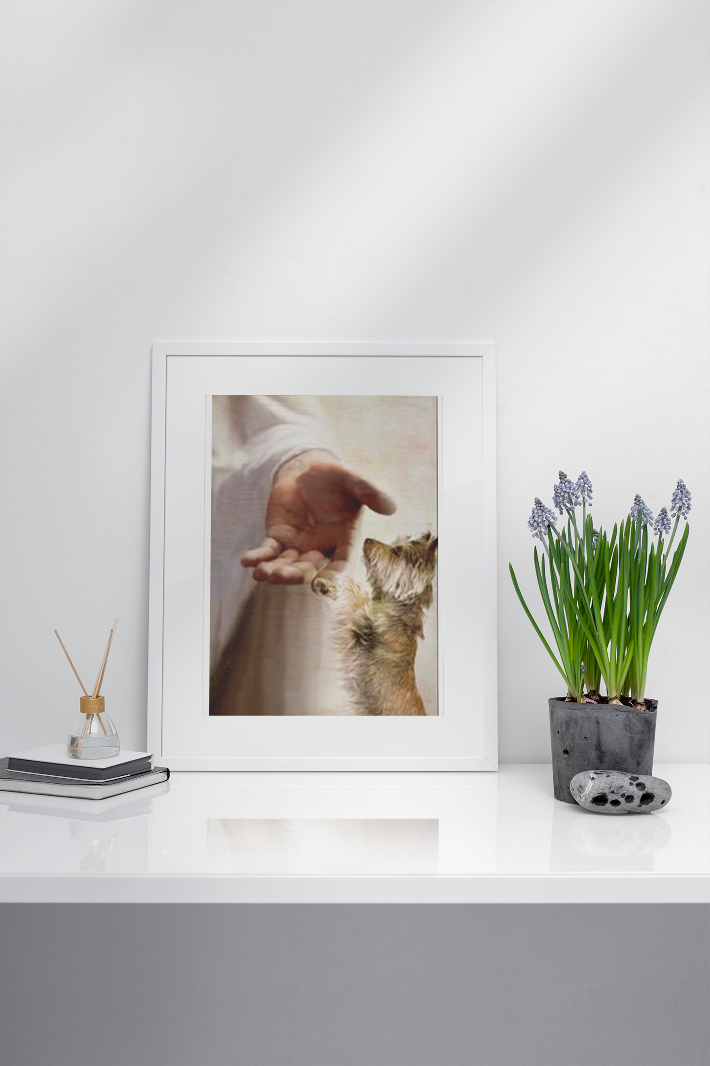 Jesus God Cairn Terrier take my hand canvas poster
