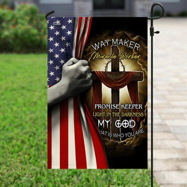 Amazing Jesus cross way maker miracle worker all over print flag