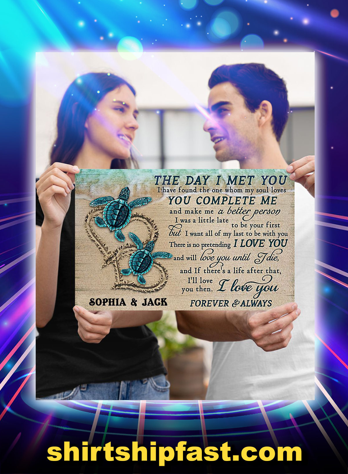 Personalized sea turtle the day i met you poster