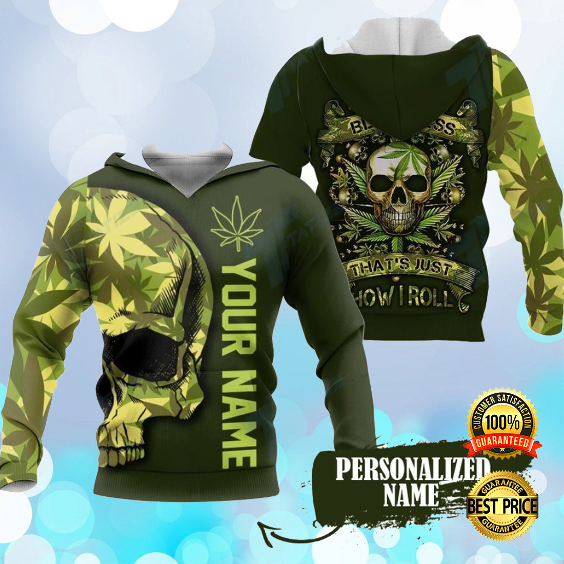 [Limited] Personalized Skull Weed Sorry For My Bluntness That's Just How I Roll All Over Printed 3D Hoodie
