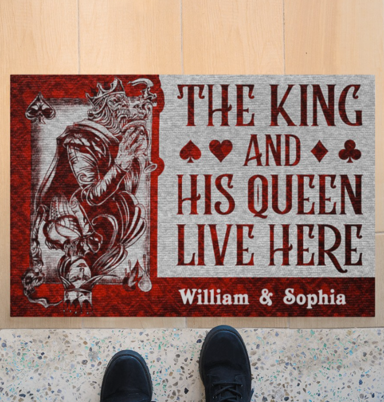 [Nice] Personalized The King And His Queen Live Here Doormat
