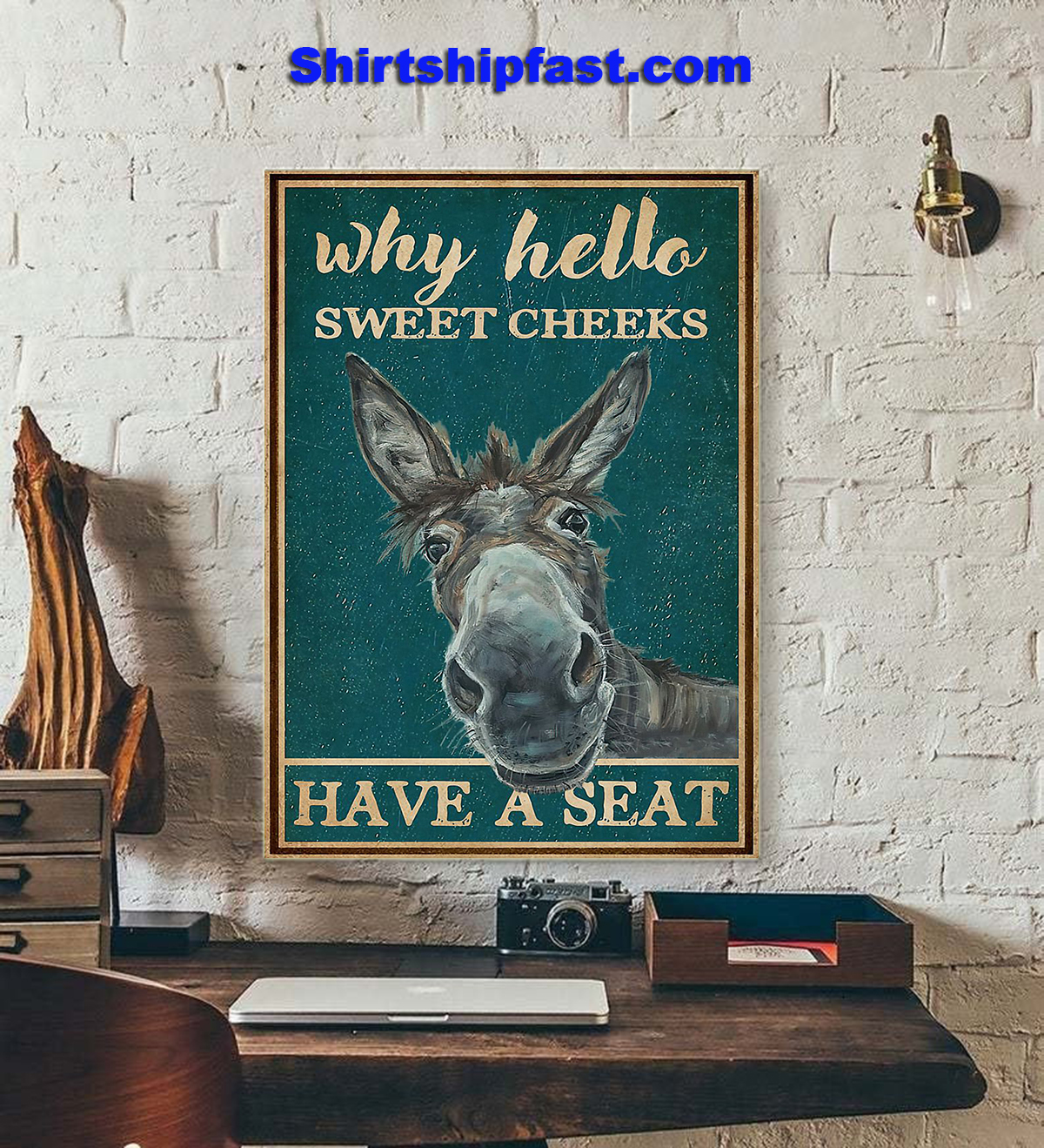 Retro teal donkey why hello sweet cheeks poster