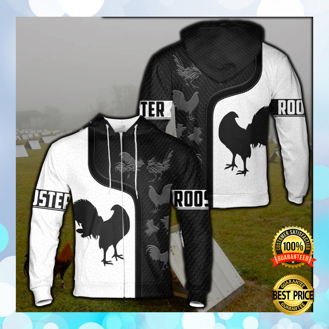 [New] Rooster Black And White All Over Printed 3D Hoodie