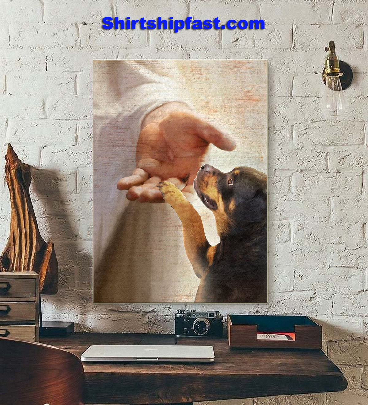 Rottweiler take my hand canvas