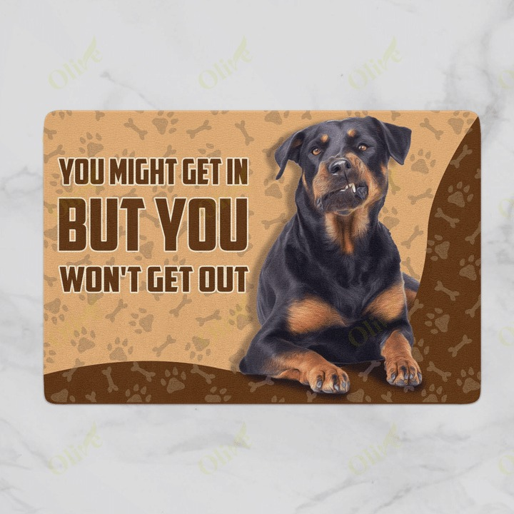 [LIMITED] Rottweiler you might get in but you won't get out doormat