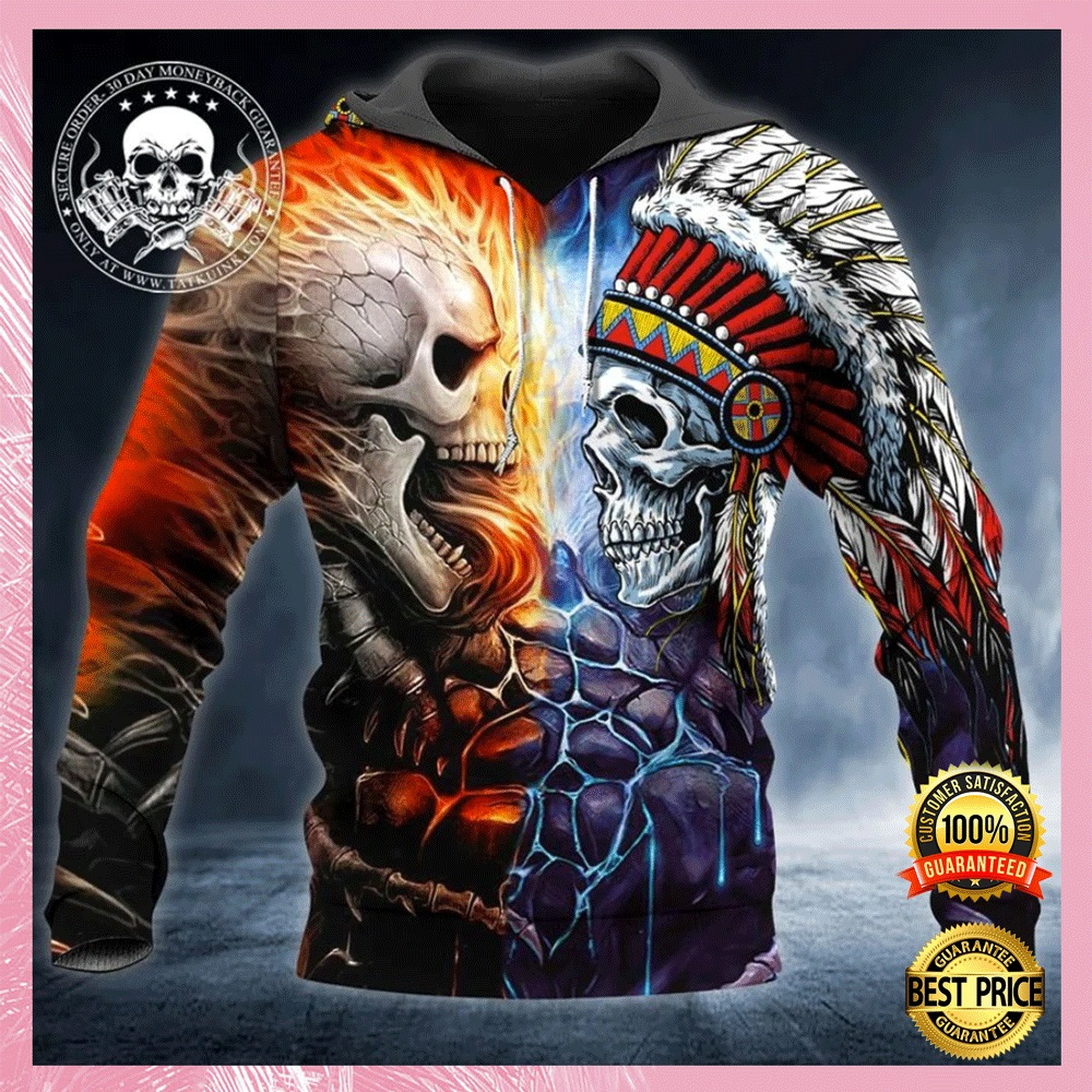 [New] Skull War Native All Over Printed 3D Hoodie