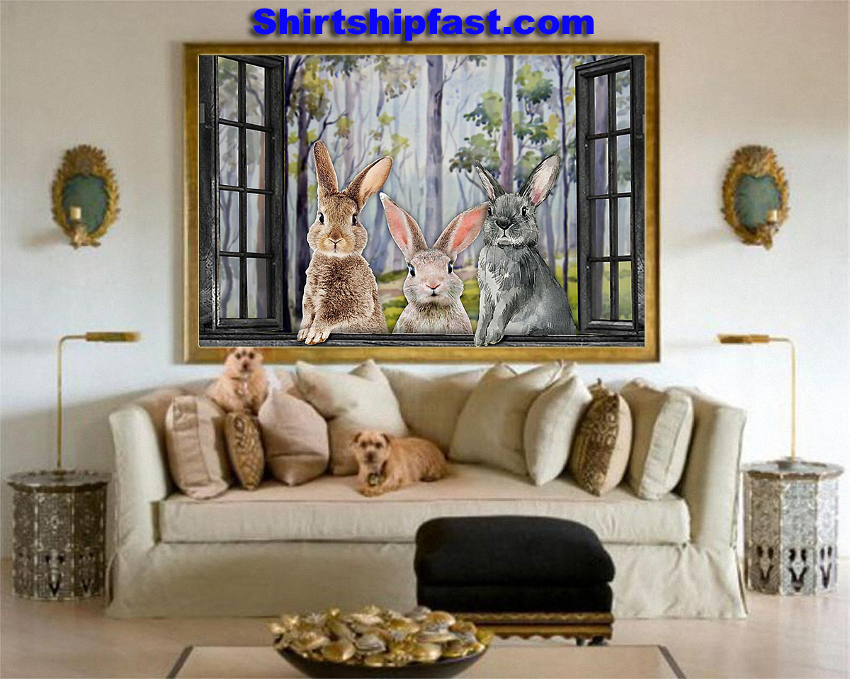 Three rabbits by the window poster