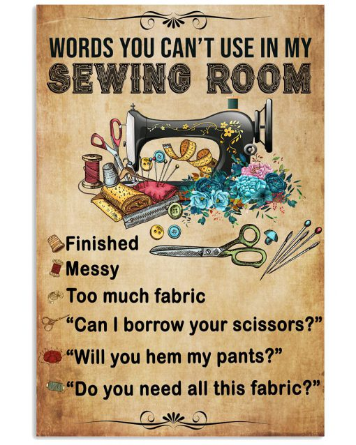 Words you can't use in my sewing room vintage poster