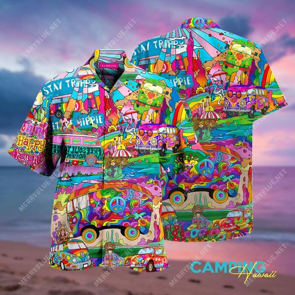Amazing amazing hippie camping all over printed hawaiian shirt