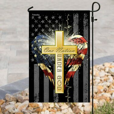 Amazing american flag cross one nation under God all over print flag