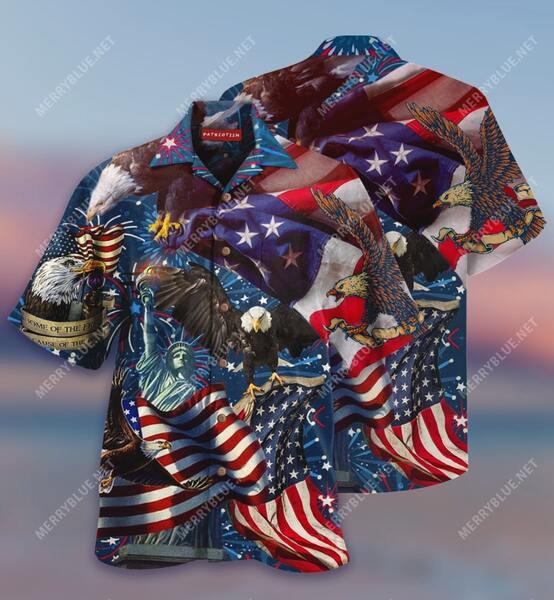 Amazing american patriotic eagle all over print hawaiian shirt