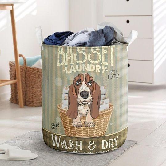 Amazing basset dog all over printed laundry basket