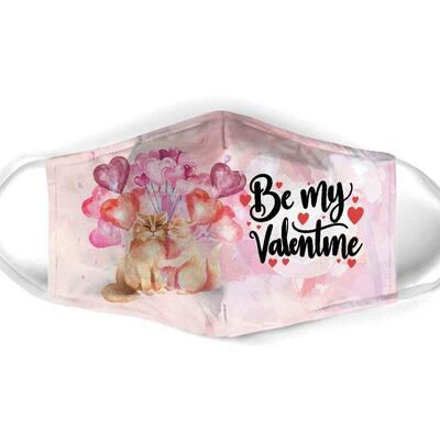 Amazing be my valentine couple cat all over print face mask