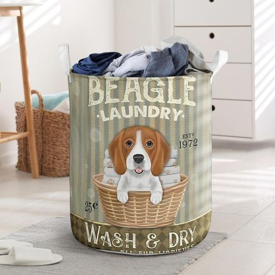 Amazing beagle wash and dry all over print laundry basket