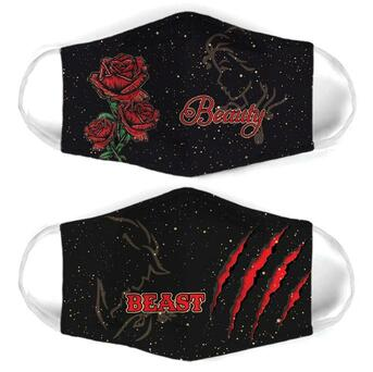Amazing beauty and the beast for couple love all over print face mask