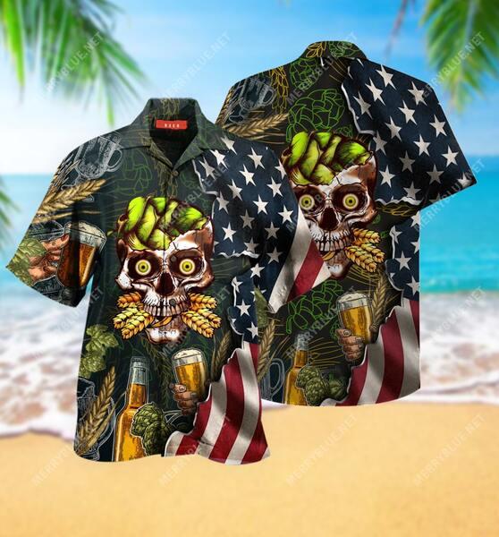 Amazing beer skull party all over printed hawaiian shirt