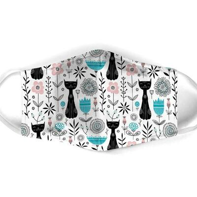 Amazing black cat pattern all over print face mask