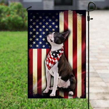 Amazing boston terrier american flag all over print flag