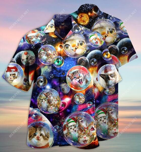 Amazing bubble cats all over printed hawaiian shirt