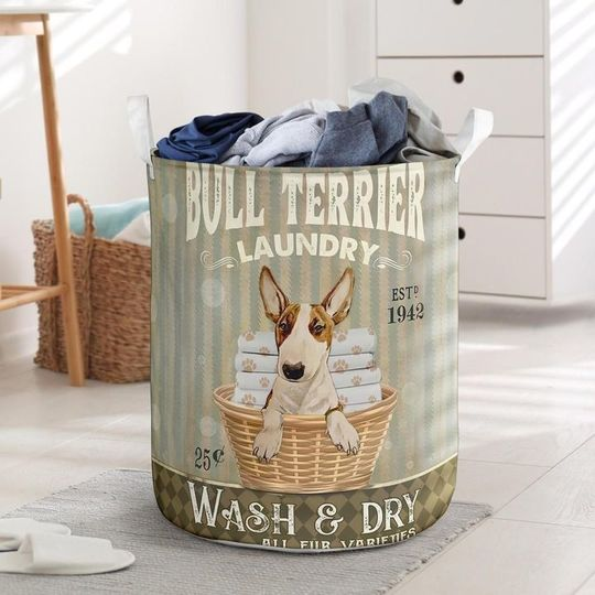 Amazing bull terier wash and dry all over print laundry basket
