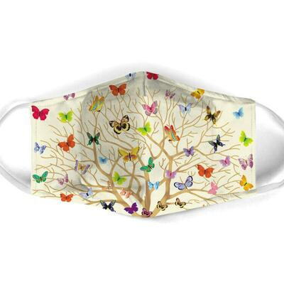 Amazing butterfly with life of tree all over print face mask