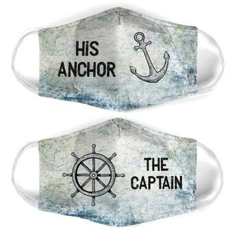 Amazing captain and anchor couple his anchor all over print face mask