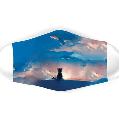 Amazing cat watching dolphin on sky all over print face mask