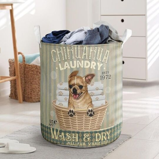 Amazing chihuahua wash and dry all over print laundry basket