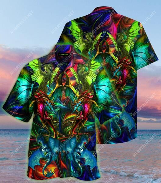Amazing colorful dragon all over printed hawaiian shirt