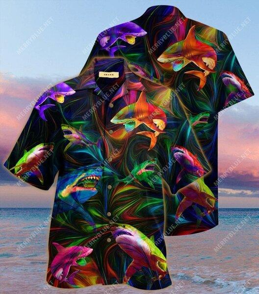 Amazing colorful shark all over printed hawaiian shirt