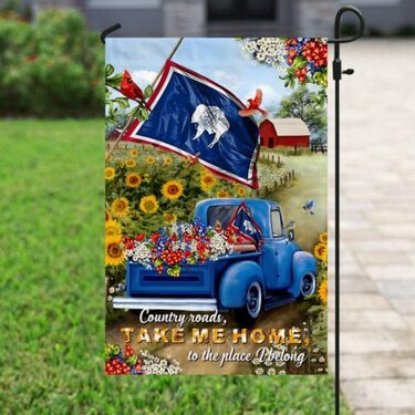 Amazing country roads take me home to the place i belong all over print flag