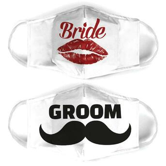 Amazing couple love bride and groom all over print face mask