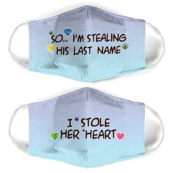 Amazing couple love i stole her heart all over print face mask