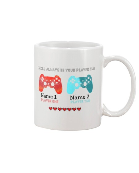 Amazing custom gamer i will always be your player two valentines day mug