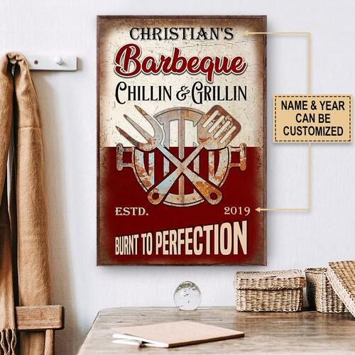 Amazing custom name barbeque chillin and grillin burnt to perfection vintage poster