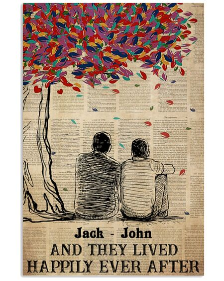 Amazing custom name gay couple and they lived happily ever after poster