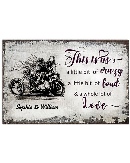 Amazing custom name this is us a little bit of crazy motorcycle couple poster
