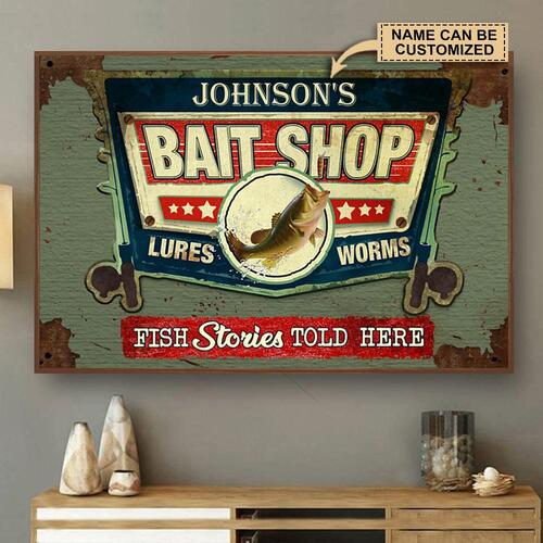 Amazing custom your name bait shop fish stories told here vintage poster