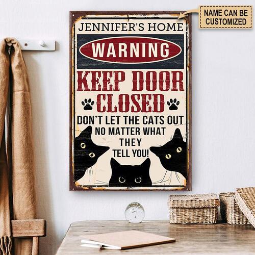 Amazing custom your name black cat warning keep door close poster