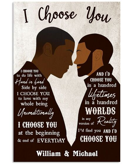 Amazing custom your name black gay couple id find you and i choose you poster