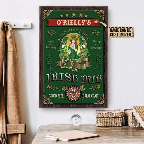 Amazing custom your name irish pub good beer great craic vintage poster