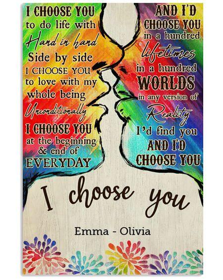 Amazing custom your name lgbt kiss i choose you poster