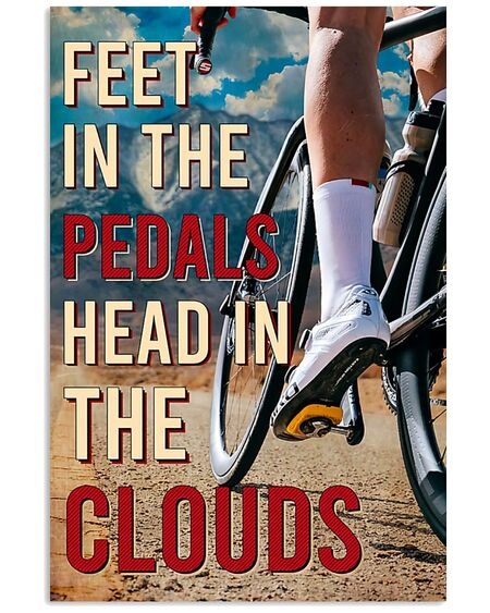 Amazing cycling feet in the pedals head in the clouds vintage poster