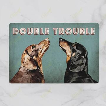 Amazing dachshund dog double trouble vintage doormat