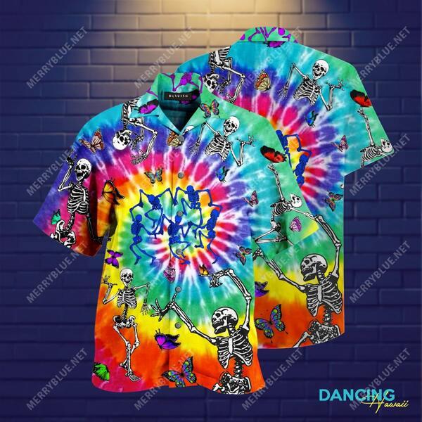 Amazing dancing skull colorfull all over printed hawaiian shirt
